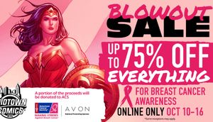Up to 75% off everything online to benefit the American Cancer Society for Breast Cancer Awareness